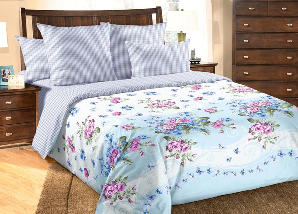 Комплект белья Primavera Нежность, евро, наволочки 70x70, 50x70, цвет: голубой85818