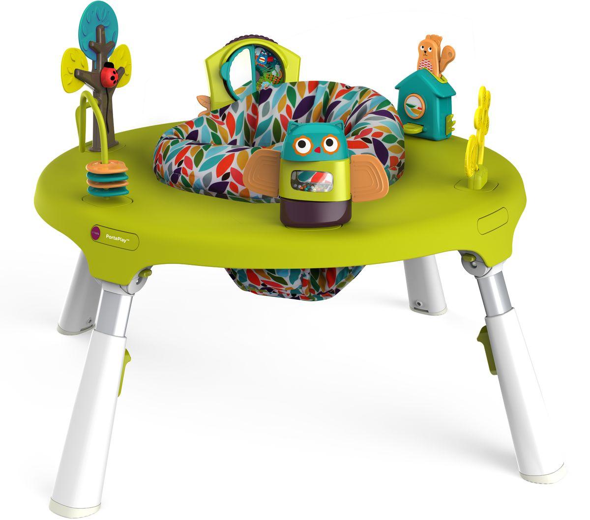 Oribel Развивающий центр-трансформерCY303-90001-INT-RPortaPlay - развивающий центр-трансформер для детей от 5 месяцев до 5 лет. В комплектации для младших возрастов центр имеет упругое сиденье с мягкими бортиками в центре и развивающие игрушки по краям. Столик регулируется по высоте и имеет складные ножки для максимальной экономии места. В дальнейшем центральное сиденье заменяется деревянной столешницей, а вместо игрушек ставятся заглушки. Полностью PortaPlay включает в себя сам стол-трансформер, 2 стульчика и диспенсер для бумаги.