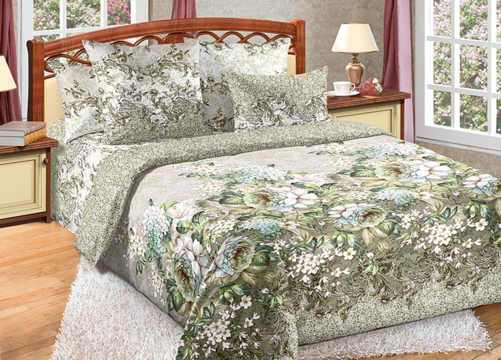 Комплект белья Primavera Роза, 1,5-спальный, наволочки 70x70, цвет: зеленый87841