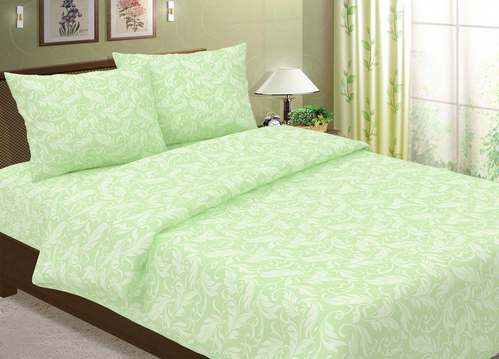 Комплект белья Primavera Перья, 2-спальный, наволочки 70x70, цвет: салатовый88369