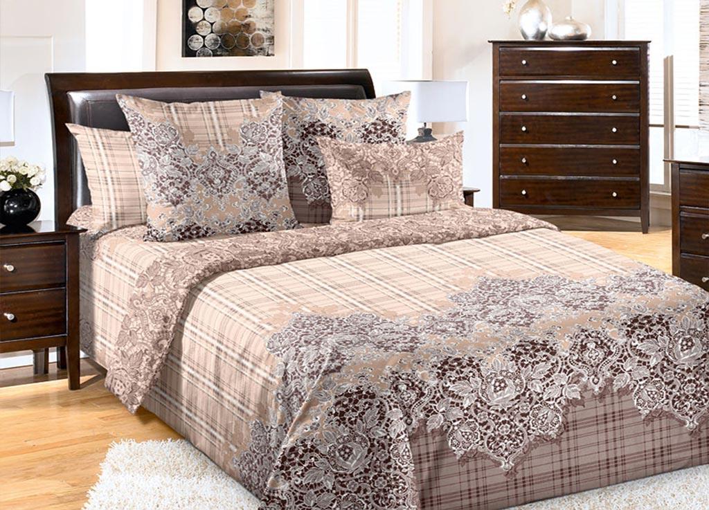 Комплект белья Primavera Кружево, 1,5-спальный, наволочки 70x70, цвет: коричневый89057