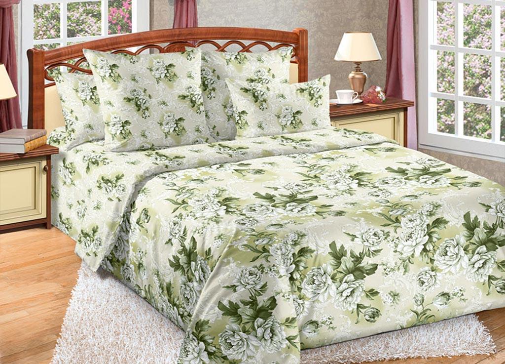Комплект белья Primavera Цветы, 1,5-спальный, наволочки 70x70, цвет: зеленый89062
