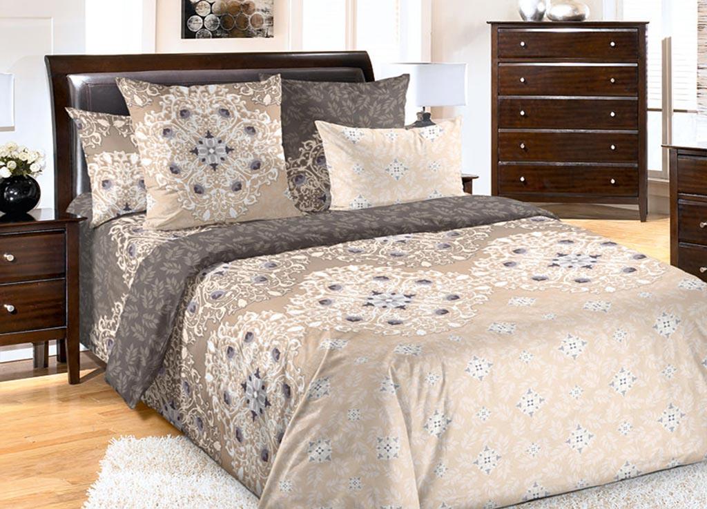 Комплект белья Primavera Салфетка, 2-спальный, наволочки 70x70, цвет: коричневый89099