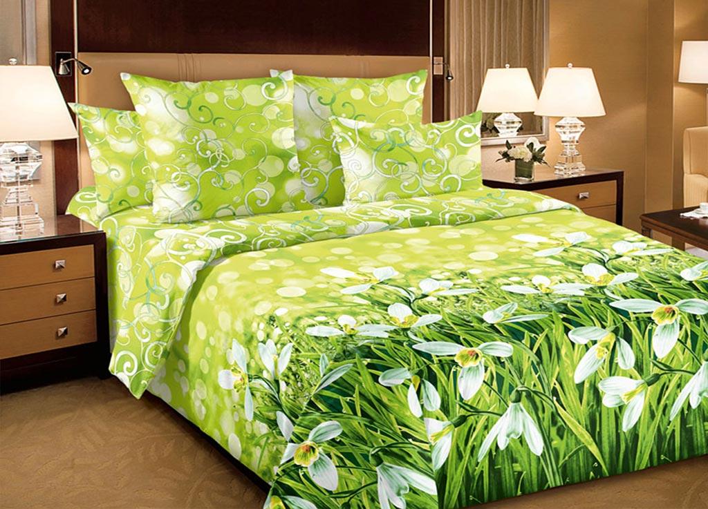 Комплект белья Primavera Нарциссы, евро, наволочки 70x70, 50x70, цвет: зеленый. 8911889118
