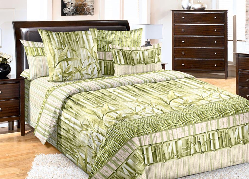 Комплект белья Primavera Стебли бамбука, евро, наволочки 70x70, 50x70, цвет: зеленый89125