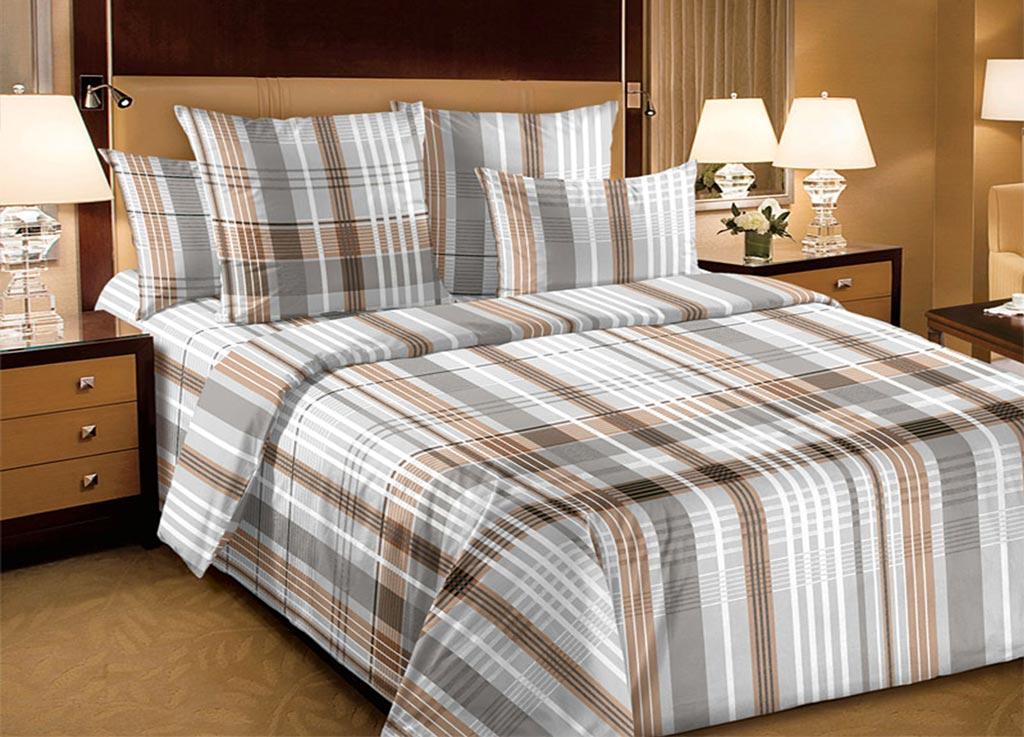 Комплект белья Primavera Строгие линии, семейный, наволочки 70x70, 50x70, цвет: серый89173
