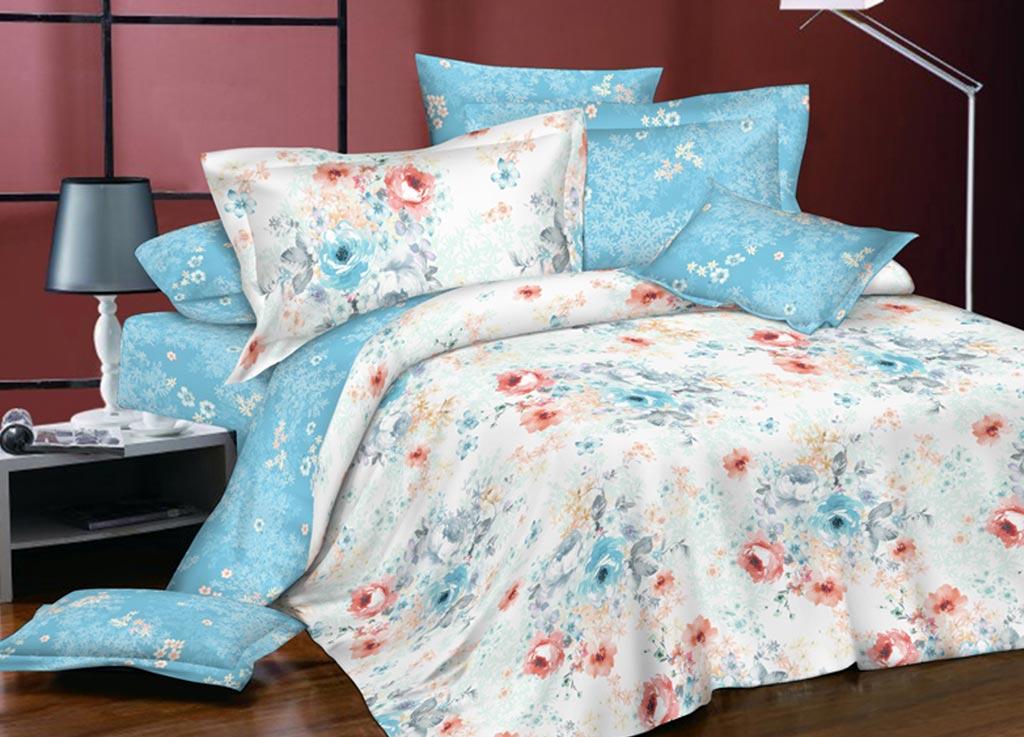 Комплект белья Primavera Пробуждение, евро, наволочки 70x70, 50x70, цвет: голубой89912