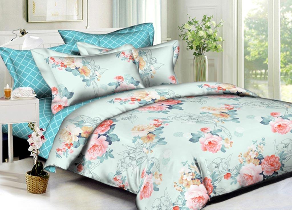 Комплект белья Primavera Букет, евро, наволочки 70x70, 50x70, цвет: голубой89922