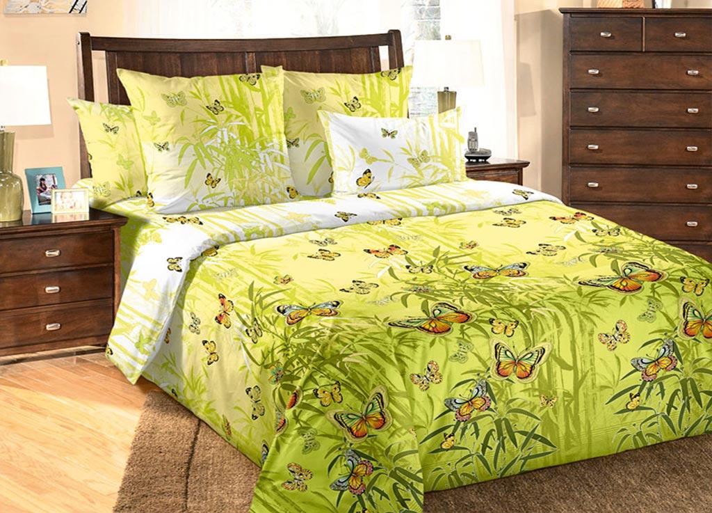 Комплект белья Primavera Бабочки , 1,5-спальный, наволочки 70x70, цвет: зеленый89960