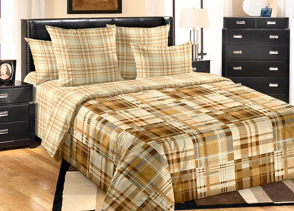 Комплект белья Primavera Клетка, 2-спальный, наволочки 70x70, цвет: коричневый89973