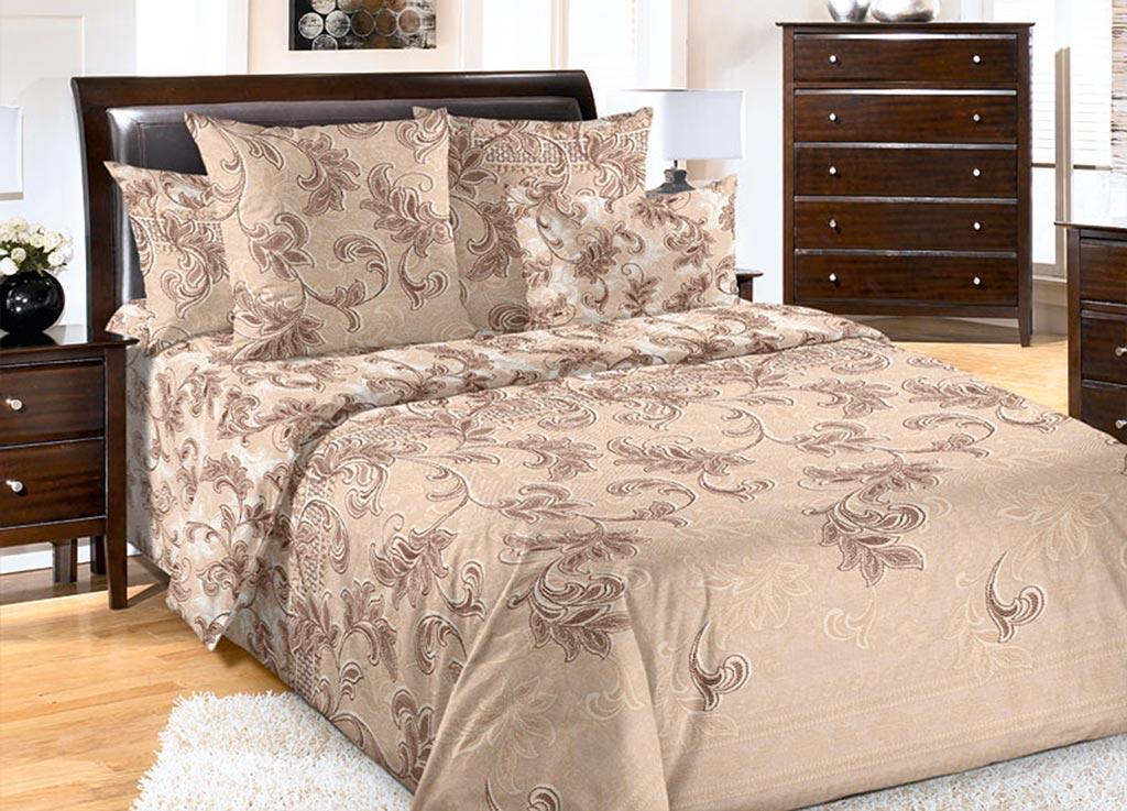 Комплект белья Primavera Вензеля , евро, наволочки 70x70, 50x70, цвет: коричневый89980