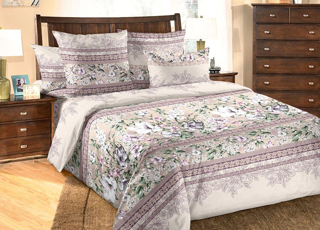 Комплект белья Primavera Примулы , семейный, наволочки 70x70, 50x70, цвет: сиреневый89984