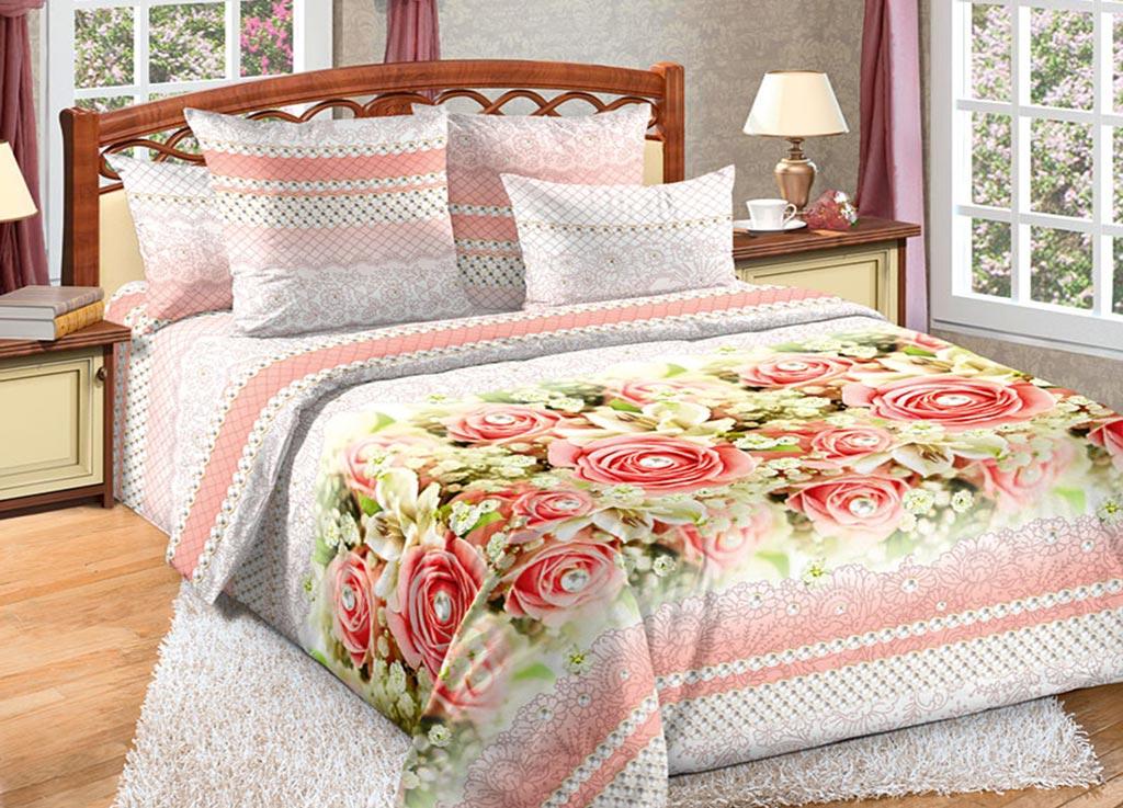 Комплект белья Primavera Восторг , семейный, наволочки 70x70, 50x70, цвет: белый, розовый89990