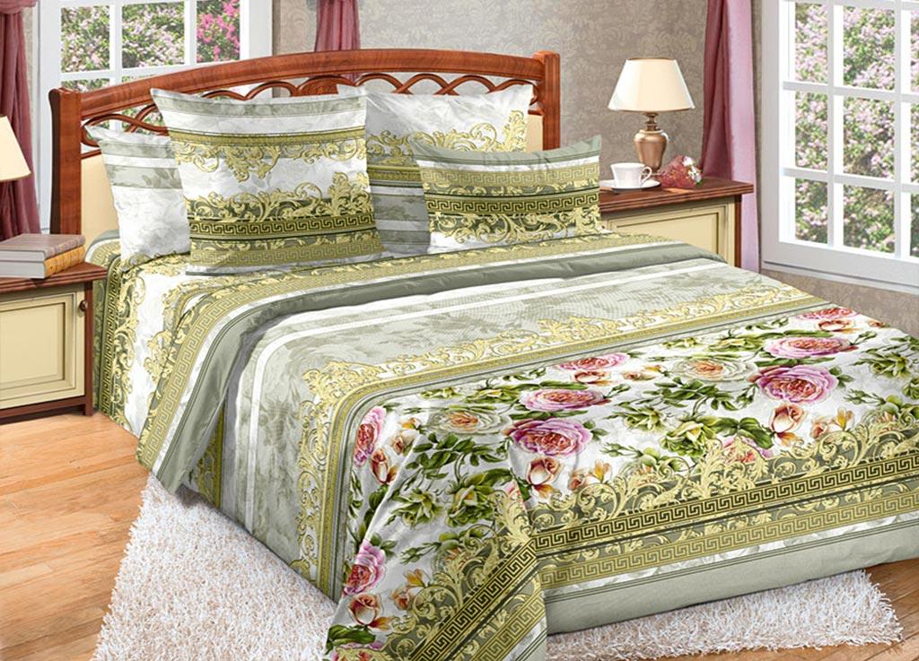 Комплект белья Primavera Букет роз, семейный, наволочки 70x70, 50x70, цвет: серый, зеленый89992