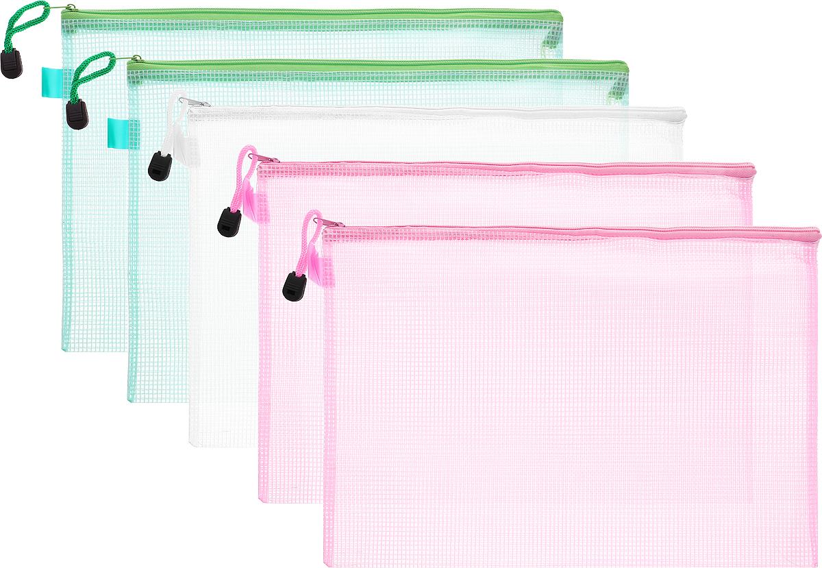 Centrum Папка на молнии цвет белый зеленый розовый 5 шт80033_белый, зеленый, розовыйОригинальная папка Centrum - это удобный и функциональный инструмент, который идеально подойдет для хранения различных бумаг и документов формата А4, а также письменных принадлежностей. Папка изготовлена из прочного пластика и надежно закрывается на застежку-молнию. Для облегчения хранения и транспортировки папка снабжена шнурком с пластиковым ограничителем. Комплект включает в себя 5 папок зеленого, белого и розового цветов. Такая папка практична в использовании и надежно сохранит ваши бумаги, сбережет их от повреждений, пыли и влаги.