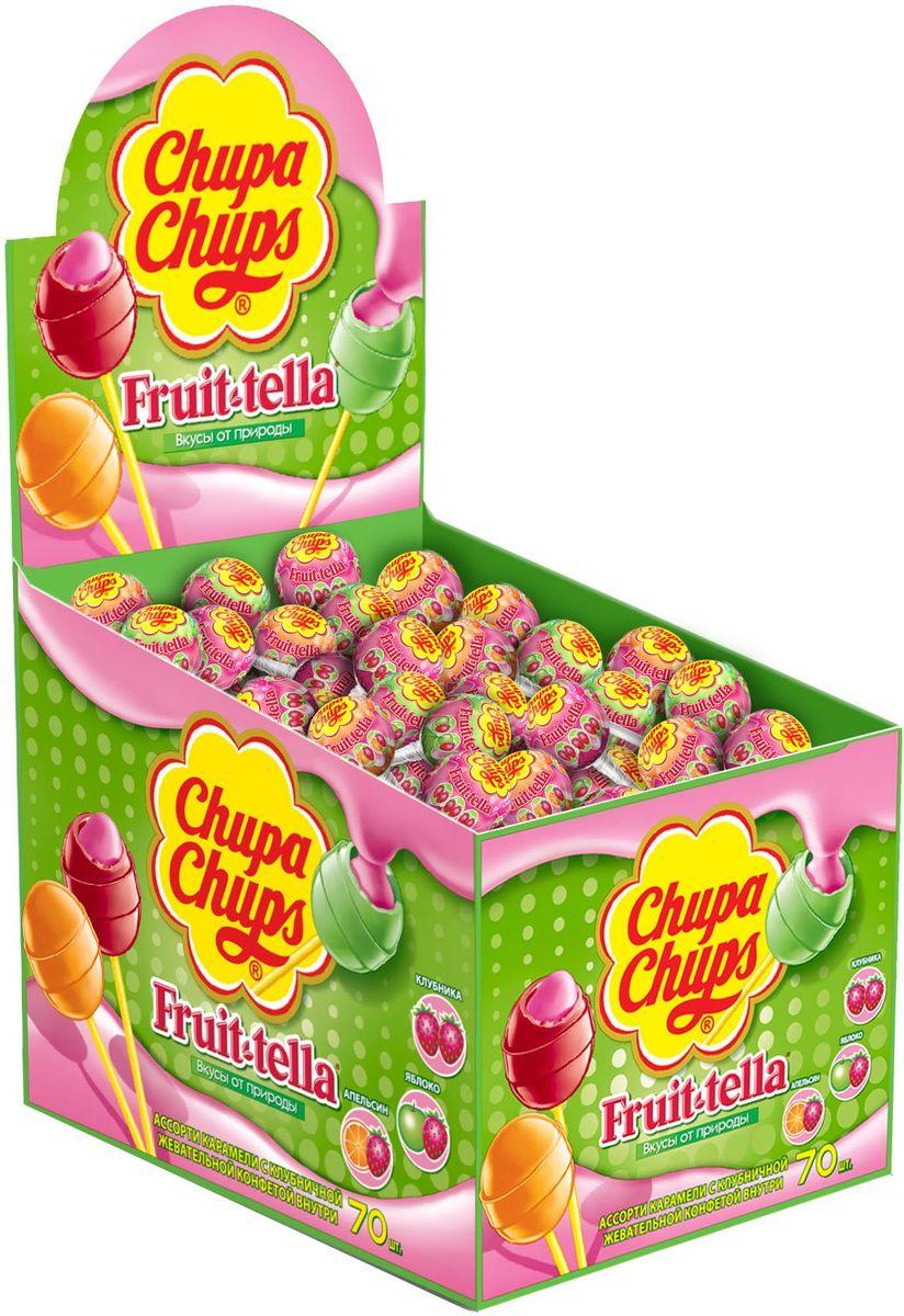 Карамель Чупа Чупс + Fruit-tella - карамель на палочке с фруктовым соком и жевательной конфетой Фрут-телла внутри. Вкусы: клубника, яблоко, апельсин.