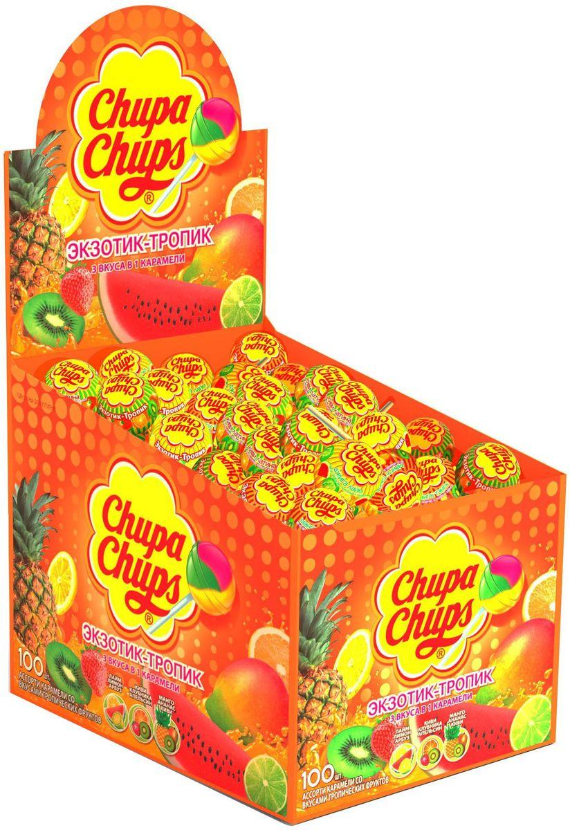 Chupa Chups карамель Экзотик-Тропик ассорти, 100 штук по 12 г8252200Кaрамель Чупа Чупс. Ассорти вкусов с натуральным соком: клубники, зеленого яблока, апельсина, ежевики, а также вкуса колы.