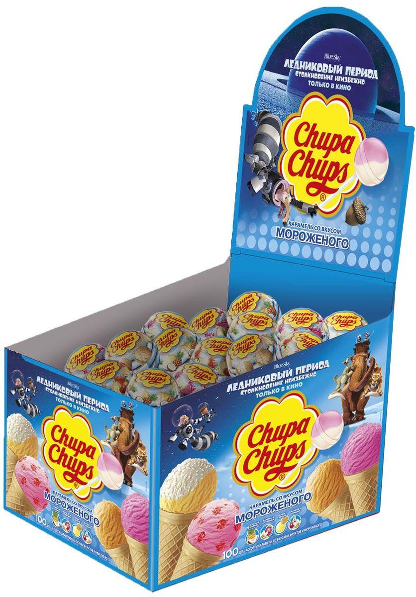 Chupa Chups карамель со вкусом мороженого, 100 штук по 12 г8253185Леденцы на палочке - излюбленное лакомство любого малыша. Продукция Чупа Чупс отличается от других сладостей креативным и привлекательным внешним видом, вызывающим любопытство.Самые популярные вкусы мороженого: кокос-ананас, ваниль-клубника, Крем-брюле и ваниль-вишня