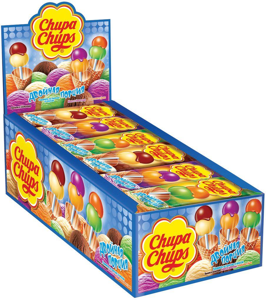 Chupa Chups карамель Двойная порция ассорти, 24 штуки по 16,8 г498005Чупа Чупс Двойная порция - уникальная карамель с двумя шариками на одной палочке. Невероятно гладкая поверхность карамели Chupa Chups.