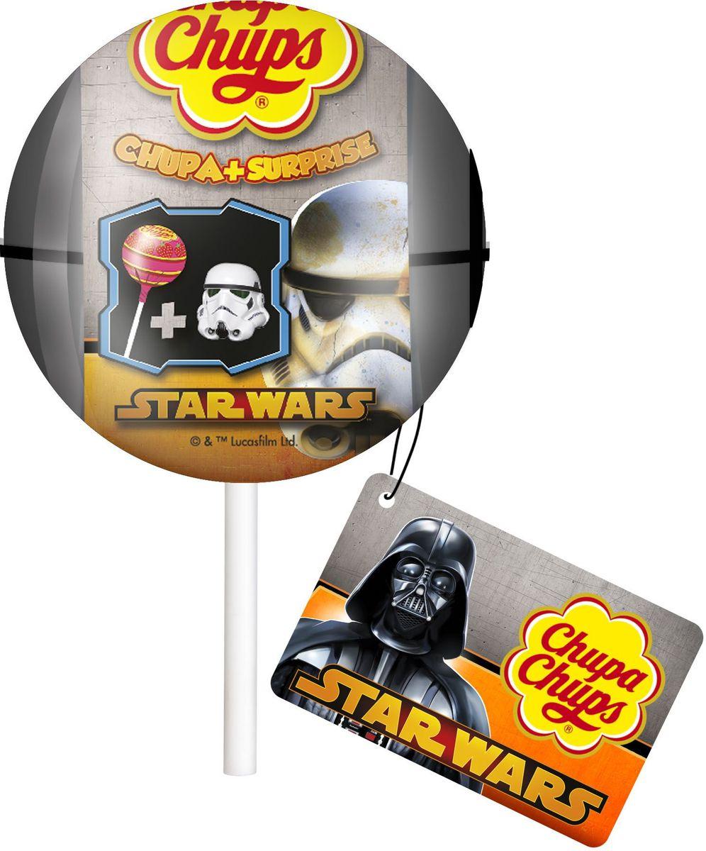 Chupa Chups карамель+Сюрприз Звёздные Войны, 12 г8402425Кaрамель Чупа Чупс со вкусом клубники и игрушка из коллекции Звёздные Войны