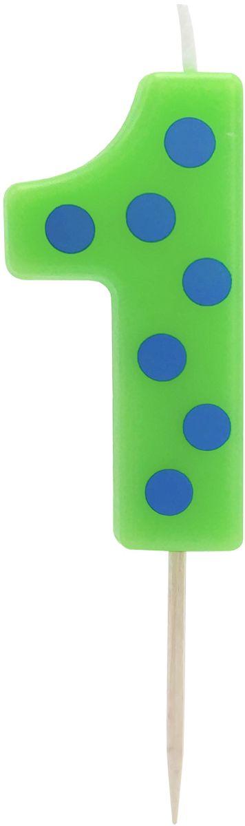 Action! Свеча-цифра для торта 1 год цвет зеленыйAPI0314-1