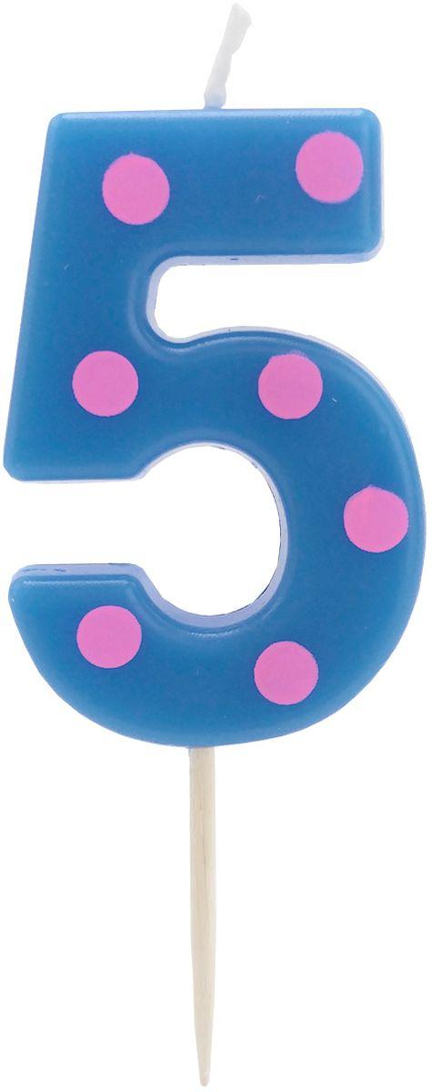 Action! Свеча-цифра для торта 5 лет цвет синийAPI0314-5