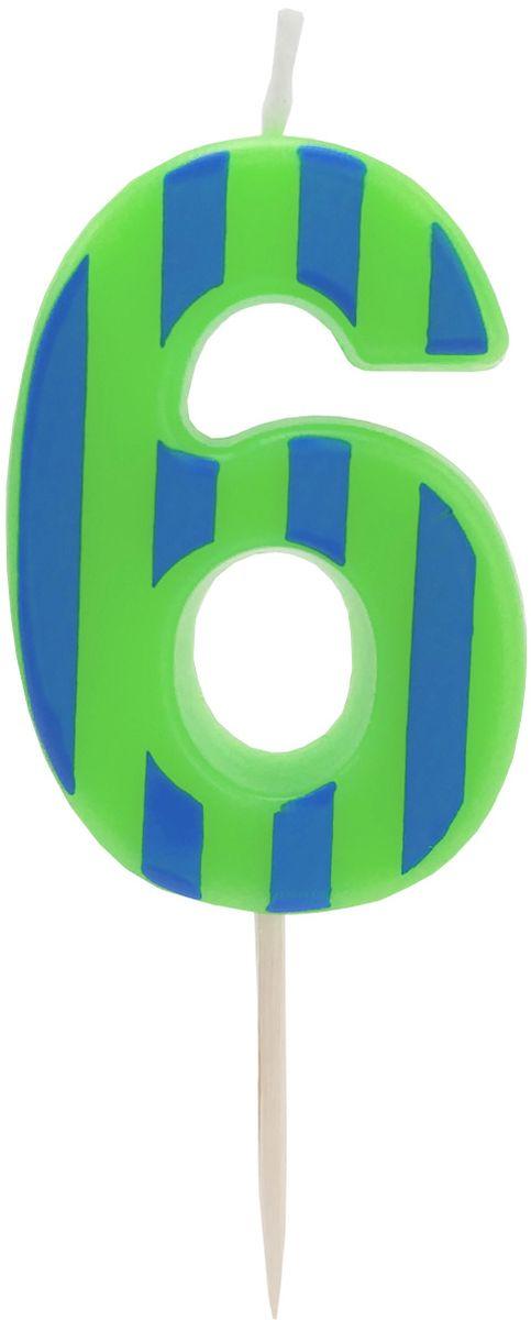 Action! Свеча-цифра для торта 6 лет цвет зеленыйAPI0314-6