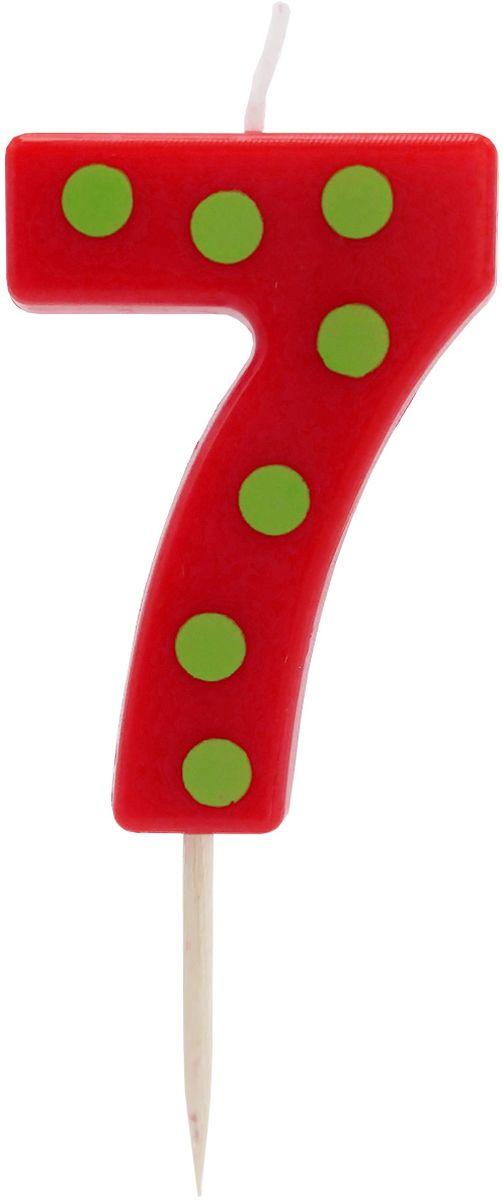 Action! Свеча-цифра для торта 7 лет цвет красныйAPI0314-7