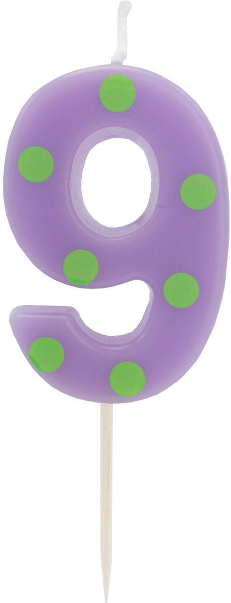 Action! Свеча-цифра для торта 9 лет цвет фиолетовыйAPI0314-9