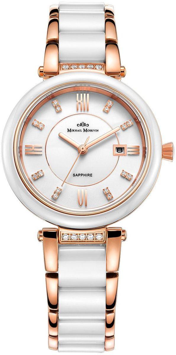 Часы наручные женские Mikhail Moskvin Elegance, цвет: белый, золотой. 1189S18B11189S18B1Союз стали и керамики и покрытие розовым золотом создают гламурную и одновременно изысканную классическую композицию. Большой, открытый циферблат часов, украшенный циркониевыми вставками, защищён стеклом из прочного сапфира. Эти изящные часы – само воплощение женственности на запястье их владелицы.