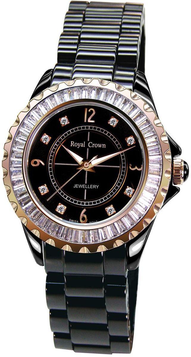 Часы наручные женские Royal Crown, цвет: белый. 3821L-4-RSG-83821L-4-RSG-8Восхитительная женская модель из прочной, устойчивой к царапинам, черной керамики. Золотистый венчик инкрустирован сверкающими цирконами необычной прямоугольной огранки. Часовая индикация выполнена в виде золотых арабских цифр и блестящих стразов, сочетающихся с заостренными стрелками с белым заполнением. Часы оснащены швейцарским кварцевым механизмом производства фирмы Ronda. Срок службы элемента питания 2 года. Стекло с сапфировым напылением обеспечивает устойчивость к царапинам. Часы предлагаются в двух размерах и цветовых решениях.