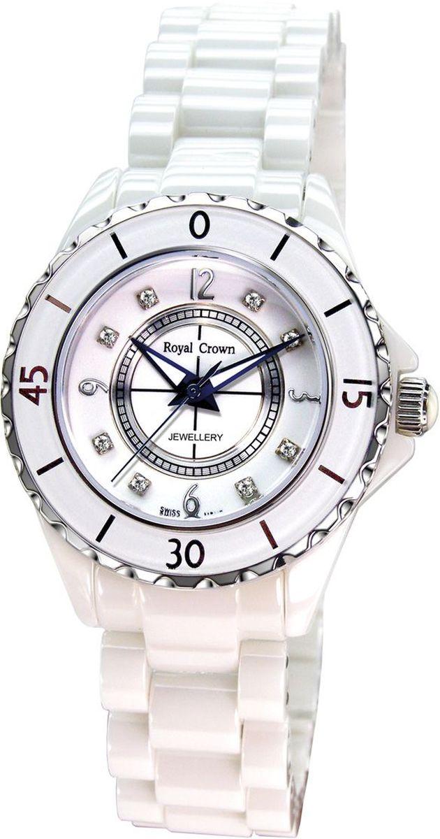 Часы наручные женские Royal Crown, цвет: белый. 3821M-5-RDM-73821M-5-RDM-7Эти часы вызывают неизменное восхищение классической красотой дизайна корпуса и уникальной философией, суть которой заключается в желании сохранить ценности, проверенные временем. Круглый корпус диаметром 39 мм и элегантный широкий браслет изготовлены из белой керамики высочайшего качества, гарантирующей защиту от царапин и отличный вид на годы. На серебристо-белом венчике размещена минутная индикация. Позиции часов на циферблате обозначены стальными арабскими цифрами и блестящими стразами. Часы оснащены швейцарским кварцевым механизмом производства фирмы Ronda. Срок службы элемента питания 2 года. Стекло с сапфировым напылением обеспечивает устойчивость к царапинам. Браслет фиксирует на запястье элегантная застежка - признак комфорта и надежности.