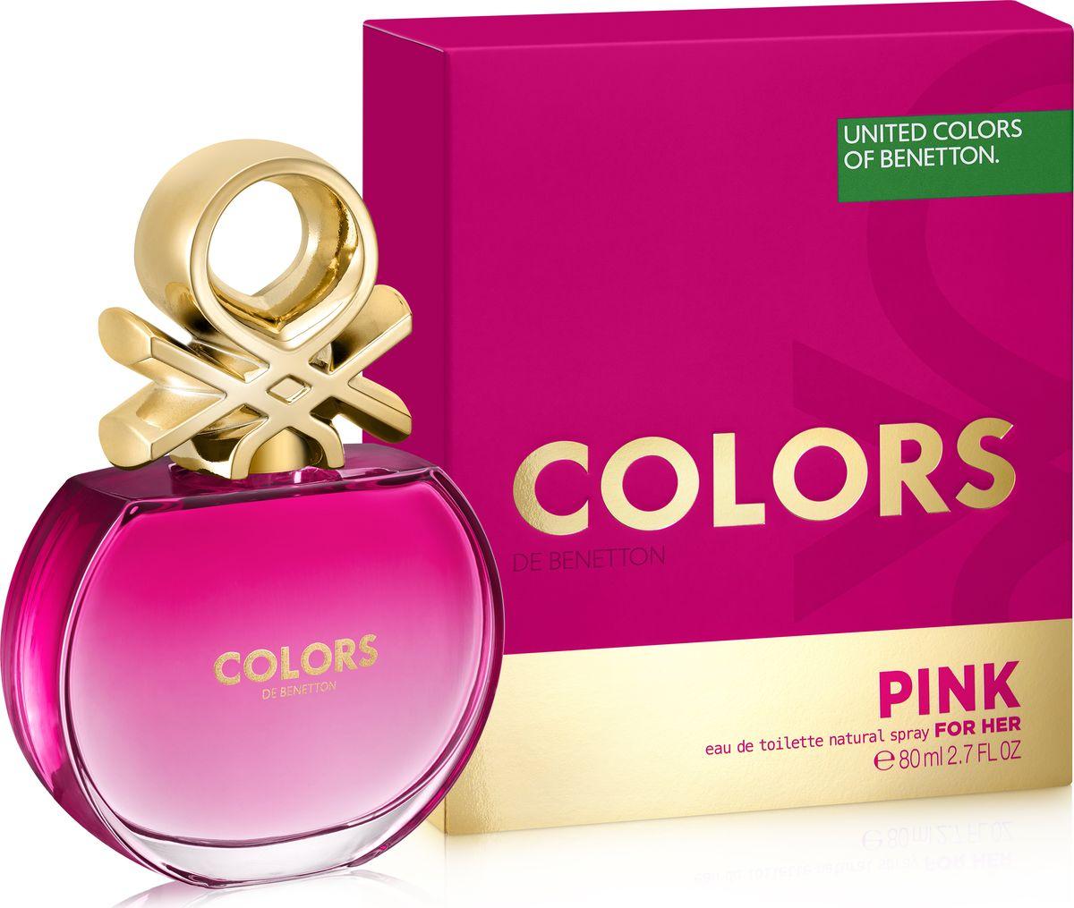 Benetton Colors Pink Туалетная вода женская 80 мл65107429Богатый аромат розы увлекает нас в соблазнительное, женственное цветочное сердце аромата, которое оттеняется освежающими и яркими верхними нотами итальянских цитрусов и маракуйи, придающими игривость и искристость. В базе аромата роскошное трио: чувственная ваниль, бархатный мускус и завораживающие ноты пачули, раскрывают характер аромата, который приглашает нас радоваться ярким цветам вокруг.