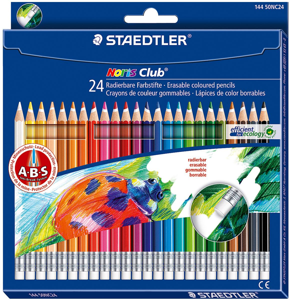 Staedtler Набор цветных карандашей Noris Club 24 шт14450NC24Цветные карандаши с ABS системой. Стираются ластиком! Белое защитное кольцо усиливает грифель и повышает его ударопрочность. Грифель не ломается и не крошится при заточке. Корпус карандашей выполнен из сертифицированной особо прочной древесины. В наборе 24 карандаша ярких насыщенных цветов.
