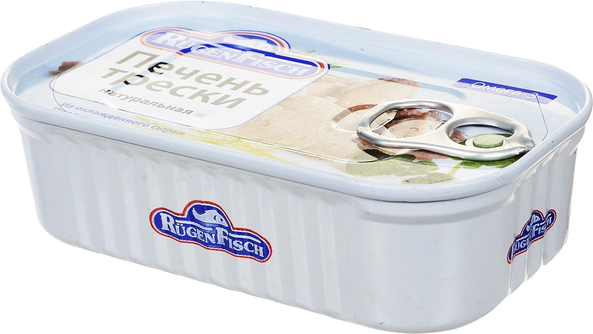 Rugen Fisch печень трески натуральная, 115 г79020Rugen Fisch - настоящая печень трески из Исландии. Печень разложена в банке целостными кусочками. Печень трески является источником рыбьего жира, содержит в значительном количестве ряд важных для организма человека веществ: витамины А, D, E, ненасыщенные жирные кислоты, фолиевую кислоту, белки.