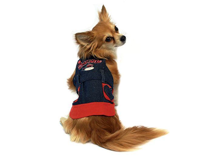 """Сарафан для собак Каскад """"Сердечки"""", для девочки, цвет: синий, красный. Размер XL"""