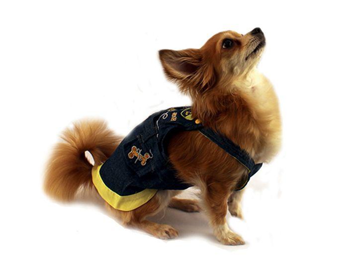 "Сарафан для собак ""Каскад"", для девочки, цвет: синий, желтый. Размер L"