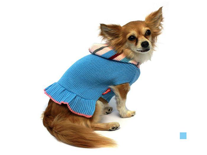 Платье для собак Каскад Вязаное. Полоска, для девочки, цвет: голубой. Размер XL52000505