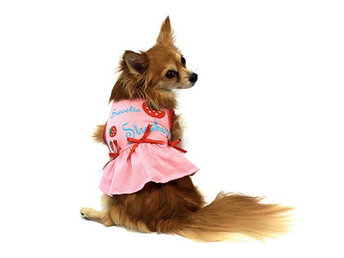 Платье для собак Каскад Клубничка, для девочки, цвет: розовый. Размер M52000585