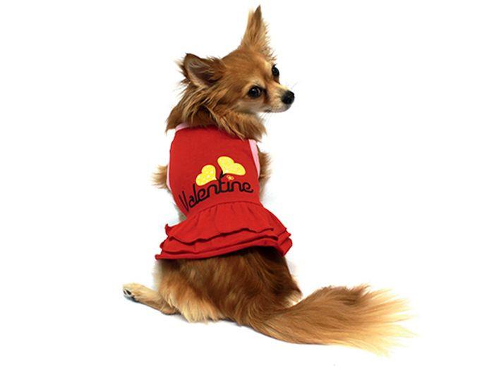 Платье для собак Каскад Два сердца, для девочки, цвет: красный. Размер S52000694