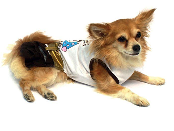 Платье для собак Каскад, для девочки, цвет: золотой, белый. Размер M52000765