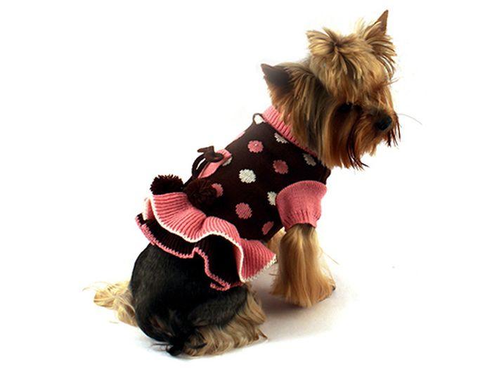 Платье для собак Каскад Горошек, для девочки, цвет: коричневый, розовый. Размер M52000830