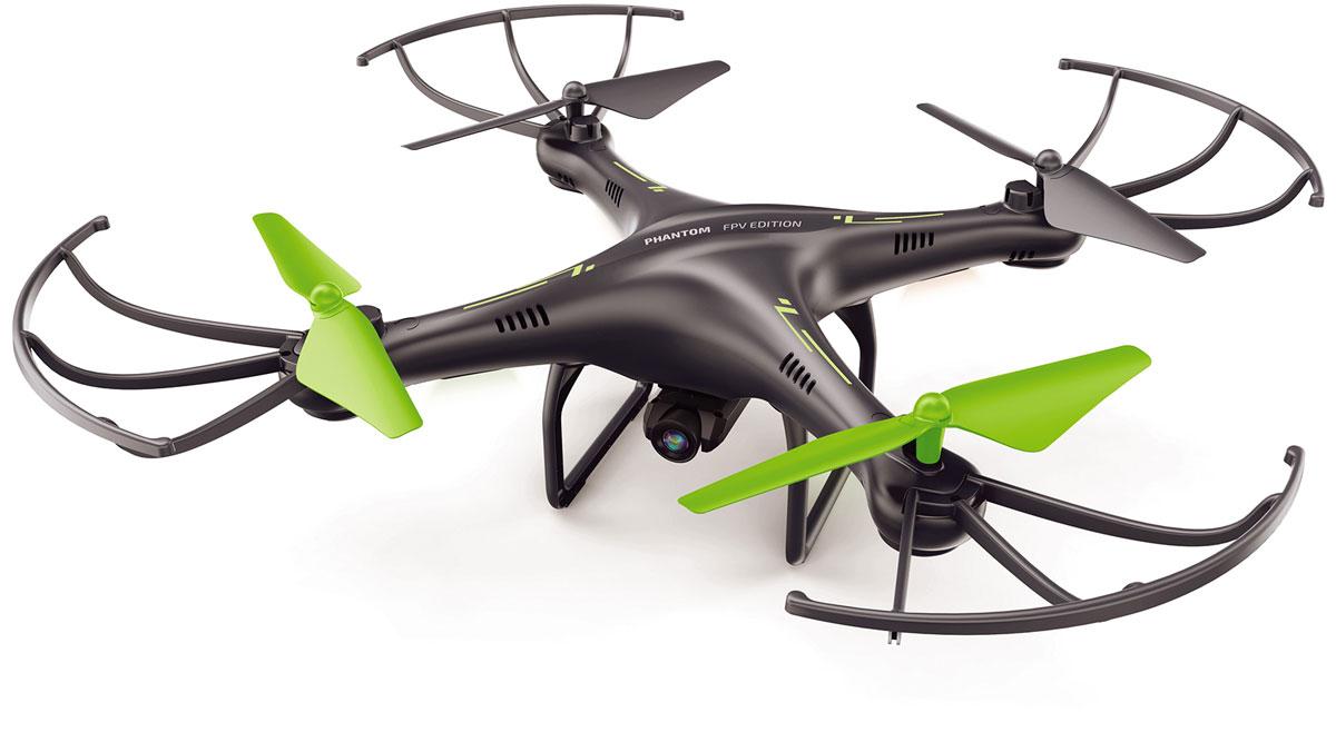 Pilotage Квадрокоптер на радиоуправлении Phantom FPV Edition RTFRC49581Квадрокоптер на радиоуправлении Pilotage Phantom FPV Edition RTF оснащен современной WiFi камерой, имеет множество полезных функций и возможностей, и великолепно подходит для пилотов, которые хотят освоить увлекательный мир полетов по FPV. Данный квадрокоптер не требует лицензии для полетов. На квадрокоптере установлена WiFi камера, с помощью которой можно делать удивительные фотографии и видео с высоты птичьего полета. Данная камера обеспечивает трансляцию изображения в режиме реального времени, что позволяет оператору воспринимать полет, как будто он находится в кабине кадрокоптера. Все, что видит объектив камеры транслируется на экран вашего смартфона, который можно закрепить на кронштейне пульта управления. Соответствующее бесплатное приложение для iOS и Android позволяет поделиться отснятыми кадрами с друзьями или использовать смартфон в качестве пульта управления. Разрешение камеры 640 х 480 пикселей, фотографии сохраняются в виде файлов JPG, а видео в виде AVI-файлов....