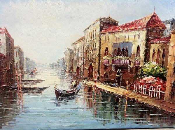 Картина-репродукция Magic Home из 3 частей Венеция. 4447244472Картина - репродукция из 3-х частей Венеция (78х80х2,5см, масляная печать на холсте с ручной подрисовкой) без рамки