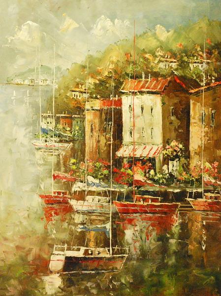 Картина-репродукция Magic Home Пристань. 4447644476Картина - репродукция Пристаньарт 44476 (60х80х2,5см, масляная печать на холсте с ручной подрисовкой) без рамки