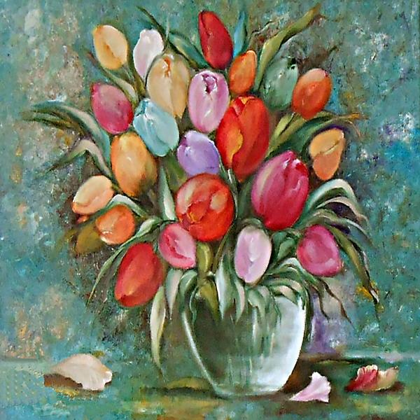 Картина-репродукция Magic Home Тюльпаны. 4448444484Картина - репродукция Тюльпаныарт 44484 (50х50х2,5см, масляная печать на холсте с ручной подрисовкой) без рамки