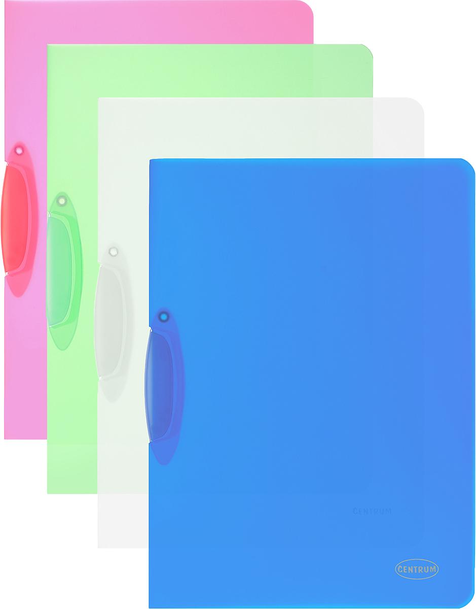Centrum Папка с клипом цвет зеленый малиновый синий 4 шт80018_зеленый, малиновый, прозрачный, синийПапка с клипом Centrum станет вашим верным помощником дома и в офисе. Это удобный и функциональный инструмент, предназначенный для хранения и транспортировки рабочих бумаг и документов формата А4. Папка изготовлена из прочного и высококачественного пластика, оснащена боковым клипом, позволяющим фиксировать неперфорированные листы. Уголки имеют закругленную форму, что предотвращает их загибание и помогает надолго сохранить опрятный вид обложки. В комплект входят 4 папки синего, прозрачного, малинового и зеленого цветов.