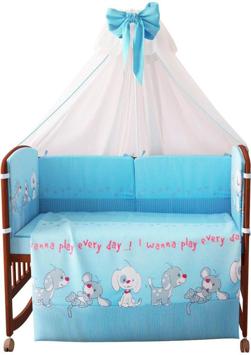Фея Комплект белья для новорожденных Веселая игра цвет голубой 7 предметов 1015-11015-1