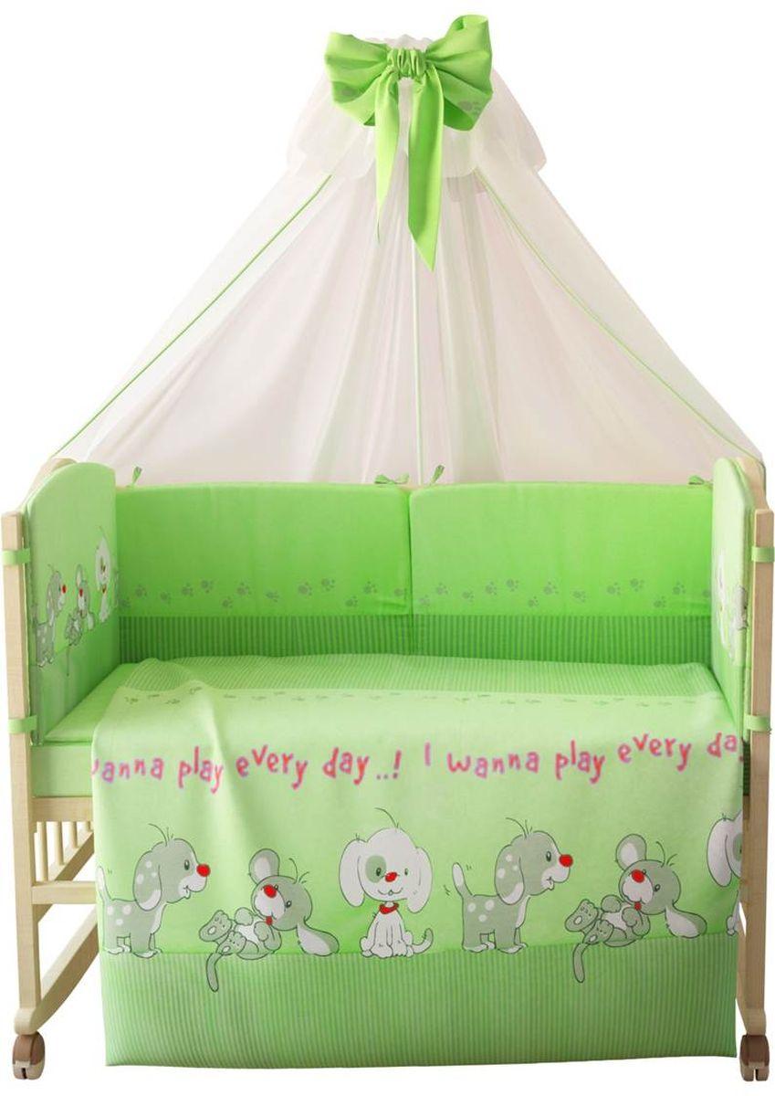 Фея Комплект белья для новорожденных Веселая игра цвет зеленый 7 предметов 1015-41015-4
