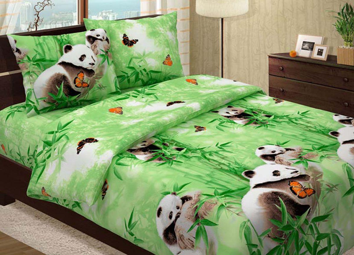 Комплект белья Primavera Панды, евро, наволочки 70x70, 50x70, цвет: зеленый83794
